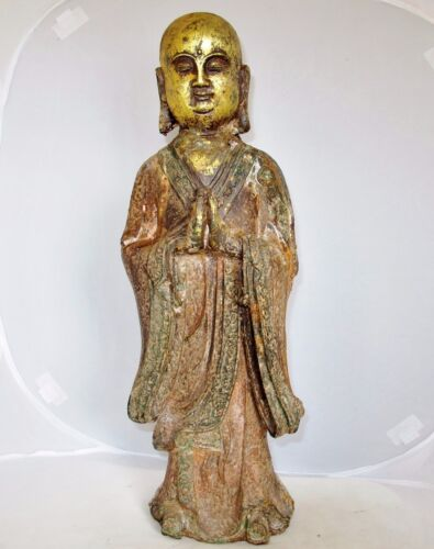 "18.5"" Antique Chinese Gold Gilt & Painted Cast Iron BUDDHA or Monk Statue"