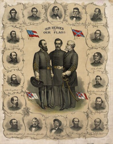 US Civil War Art:  Our Heroes and Our Flags Painting - Fine Art Canvas Print