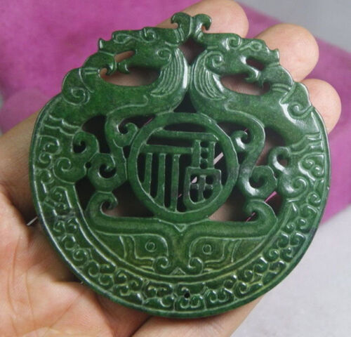 CHINESE OLD HANDWORK GREEN JADE CARVED DRAGON PENDANT AAA