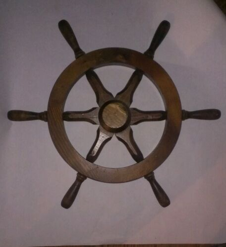 "VINTAGE WALL DECORATION WOODEN SHIP WHEEL 19"" DIAMETER"