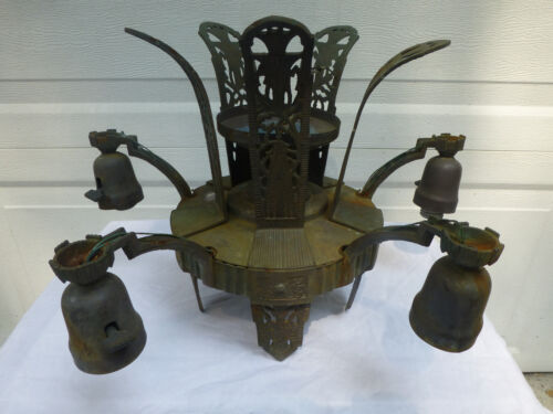 "Art Deco Chandelier Original condition Brass & Copper ""I THINK"""