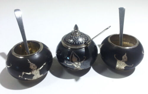 Asian Thai Sterling Silver Niello Figurative Salt Cellars & Mustard Pot C. 1930s