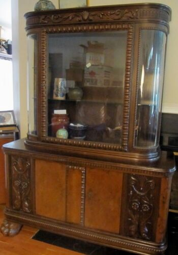 ANTIQUE CARVED VICTORIAN SIDEBOARD CHINA CURIO BUFFET WINE DISPLAY