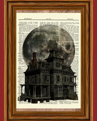 Halloween Haunted House Dictionary Art Print Full Moon Picture Spooky Poster