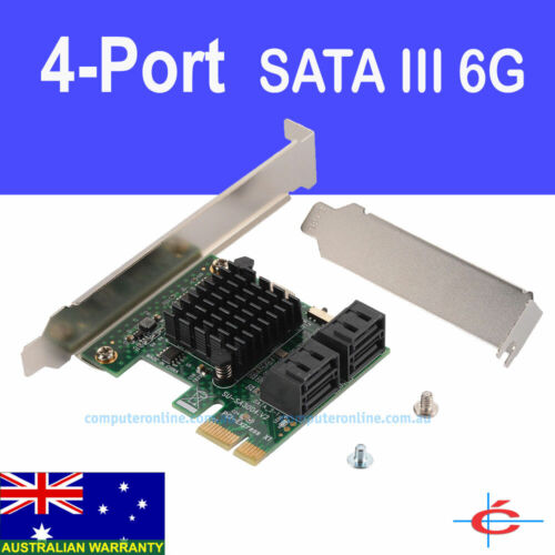 4 Port SATA3 PCIe PCI-Express Card 6Gb/s SATA III Extension Adapter for Windows