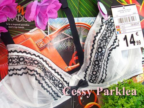 """France """"No Excuse"""" by La Halle Embroidery See-Through Mesh Non-Padded Wired Bras"""