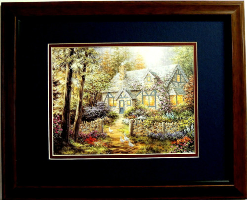 COUNTRY COTTAGE HOUSE PICTURE WHITE DUCKS MATTED FRAMED 11X14