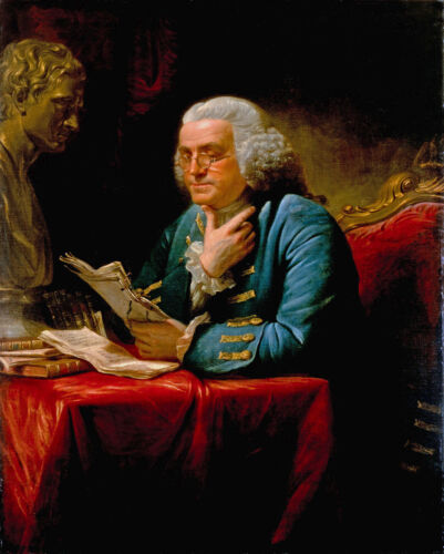 Benjamin Franklin Founding Fathers Painting USA History  8x10 Real Canvas Print