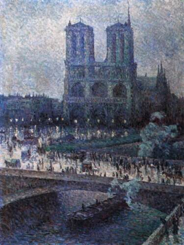 """Handmade Oil Painting repro Maximilien Luce Notre Dame Cathedral 24""""x36"""""""