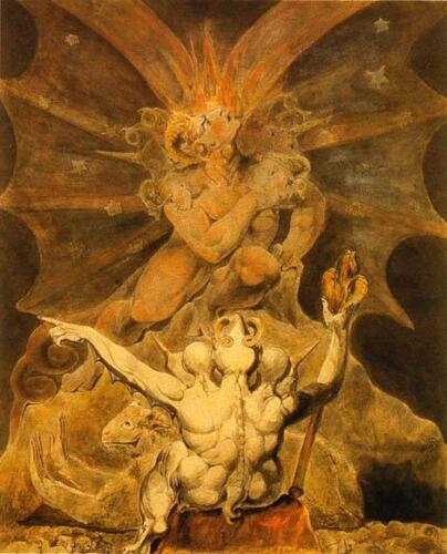 William Blake Art: The Number of the Beast is 666 Revelations 8x10 Canvas Print