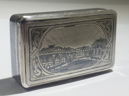 Antique Russian Imperial 840 Gilt Silver & Niello Snuff Box Circa 1886 Moscow