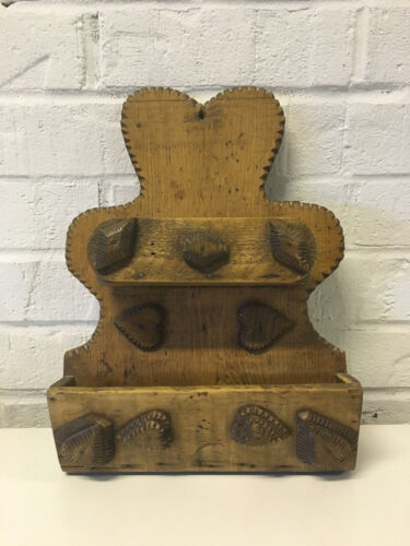 Antique AAFA Likely Pennsylvania Hanging Wall Utensil Holder w Hearts Decoration
