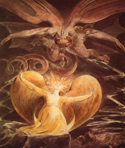William Blake The Four Great Red Dragon Paintings Fine Art Real Canvas Prints