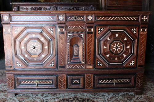 """Rare 18th Century Colonial Trunk With Elaborate Geometric Inlay 50"""" Long"""