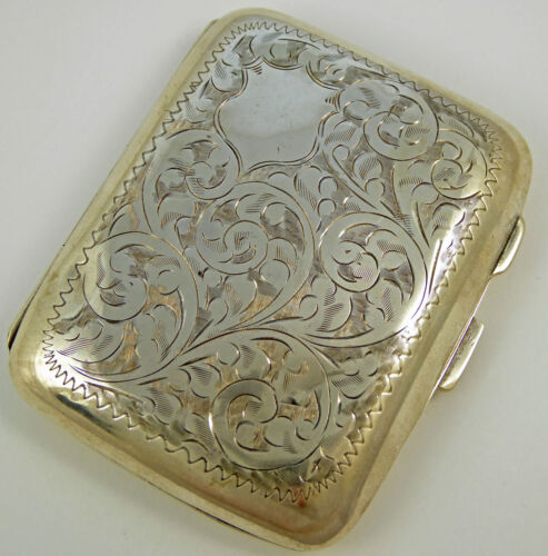 Antique 1928 Fancy Engraved Sterling Silver Cigarette Case Gold Gilt LAYBY AVA
