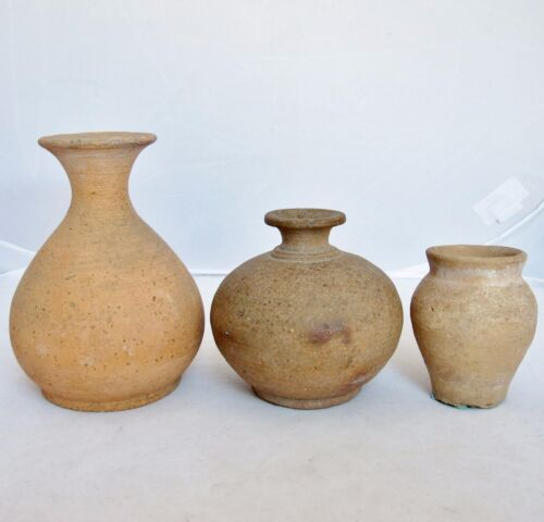 """3 Small Antique Chinese Pottery Vases - SONG Dynasty ? (5.05"""", 3.6"""" & 2.95"""" )"""