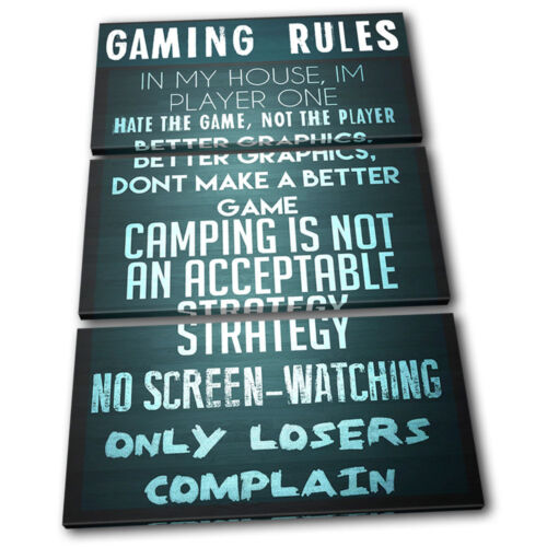 Gaming COD House Rules  Typography TREBLE CANVAS WALL ART Picture Print VA