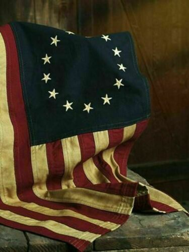 """Large 32"""" x 58"""" Aged Betsy Ross Americana FLAG -- 100% Cotton"""
