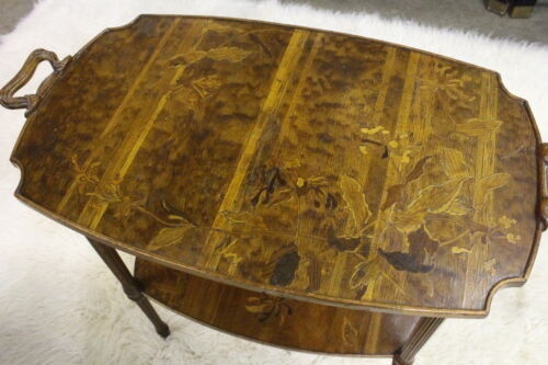 Early Signed Emile Galle Art Nouveau Occassional Table With Floral Inlay C. 1900