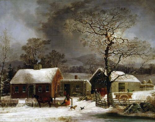 Durrie Winter Farm Scene New Haven Connecticut Painting Real Canvas Art Print