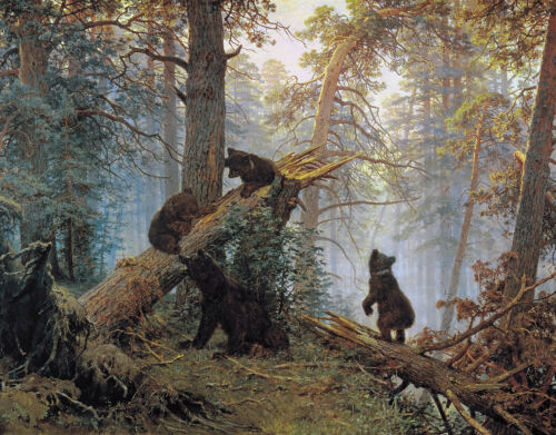 Morning in a Pine Forest Bear Family Painting Wall Art Real Canvas Print Picture