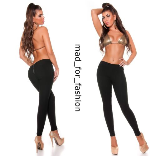 SEXY BLACK TREGGINGS LEGGINGS TROUSERS WITH ZIP ON BACK.