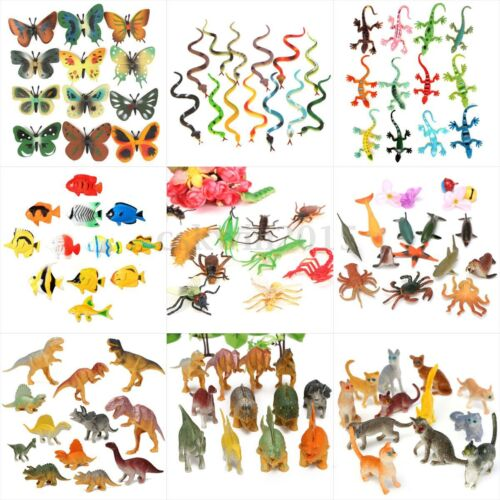 12 Assorted Zoo Safari Farm Yard Animals Ocean Insect Pet Figures Party Toy Gift