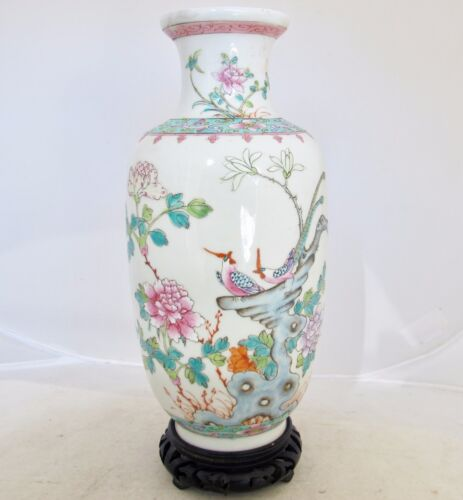 """9.2"""" Antique Chinese Famille Rose Porcelain Vase with Flowers, Birds & Stand"""