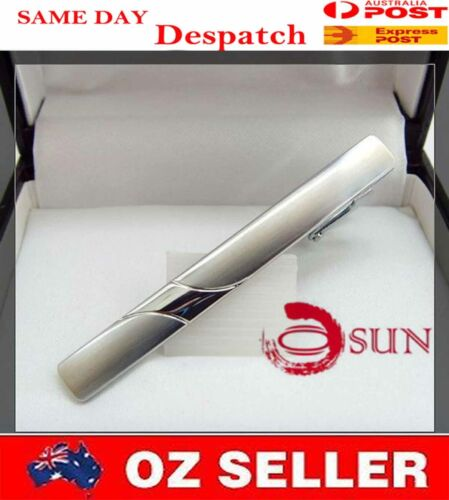 New Pure Men Silver Classical STAINLESS STEEL Wedding Tie Clip Pin Bar Party