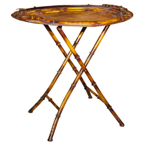 Vintage Faux Bamboo Tray on Stand  102-7458
