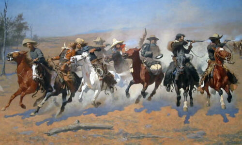"""Remington's A Dash For the Timber Large 10.5"""" x 17.5"""" Real Canvas Fine Art Print"""