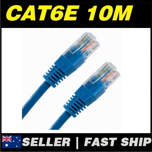 1x 10m Cat 6 Cat6 Blue Network LAN Cable Home NBN ADSL Phone PS4 Xbox TV