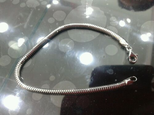 1 bracciale snake argento 925 spesso 3mm lungo 20cm silver tipo argento indiano