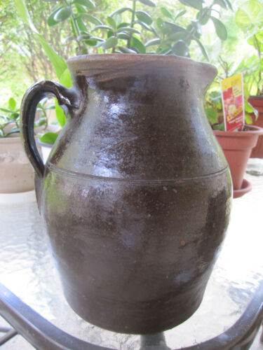 Antique Collectible Redware Pitcher with handle and Albany Glaze Clay Pottery