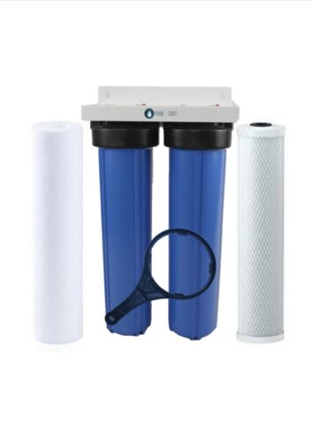 """Twin 20"""" x 4.5"""" Big Blue Whole House Water Filter System"""