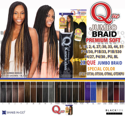 QUE JUMBO BRAID PREMIUM SOFT 100% Kanekalon SYNTHETIC BRAID HAIR