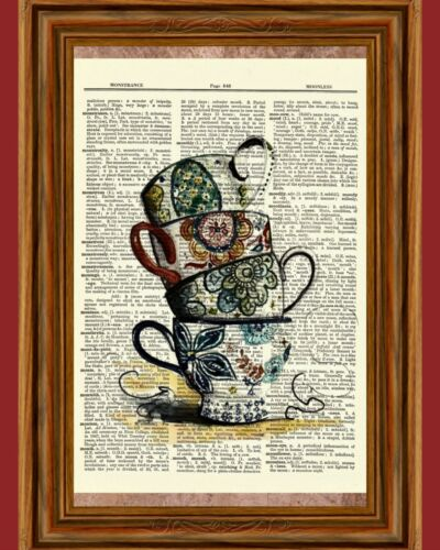 Vintage Teacups Dictionary Art Print  Picture Poster Alice in Wonderland Tea Cup
