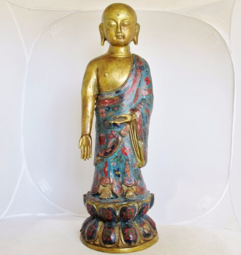"""18.25"""" Chinese Gold Painted Metal & Cloisonne BUDDHA or Monk Statue on Lotus"""
