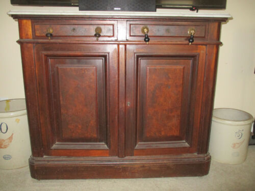 Walnut Victorian Marble Top Sideboard