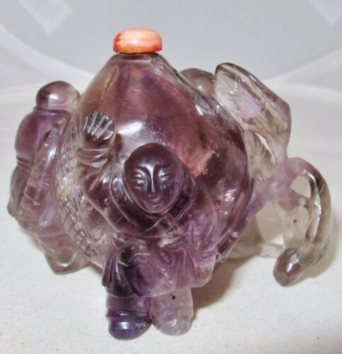 "BIG 3.25"" Old Chinese Carved Purple Amethyst Snuff Bottle with Peach & 3 Boys"