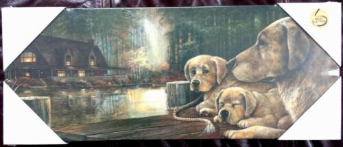 HD PRINT OIL PAINTING ON CANVAS ART DECORATION ROOM WAL, DOGS ON THE LAKE