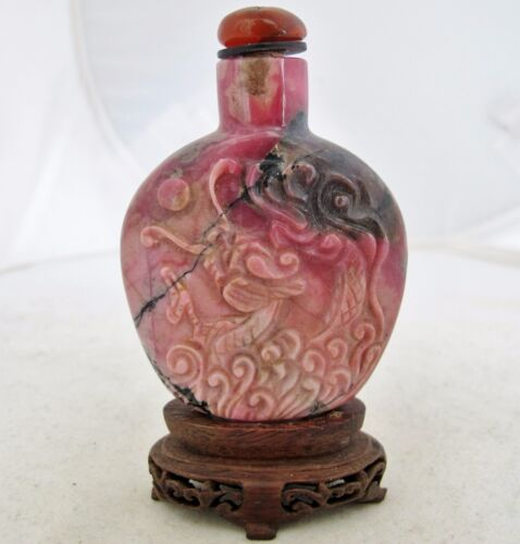 "2.7"" Chinese Carved Pink Rhodonite Stone Snuff Bottle with DRAGON & Wood Stand"