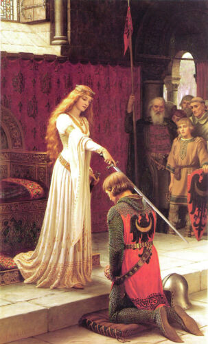 """Queen Knighthood Knight Accolade Painting Large 11"""" x 18"""" Real Canvas Art Print"""