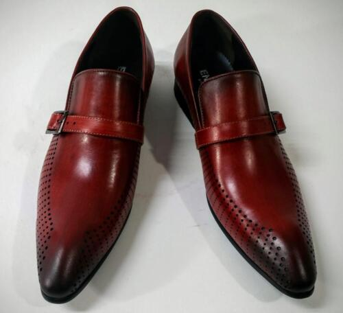 New Encore Burgundy Pointed Toe Leather Slip on Dress Shoes w/ Buckle FI 6924