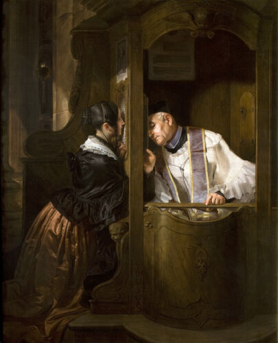 """The Confession Catholic Painting Large 12.5"""" x 15.5"""" Real Canvas Art Print"""