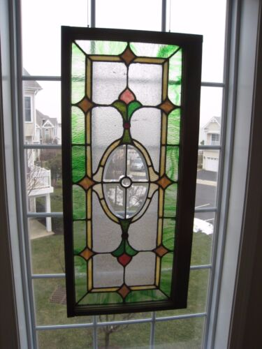 ~ ANTIQUE AMERICAN STAINED GLASS TRANSOM WINDOW 41 x 19 ~ ARCHITECTURAL SALVAGE