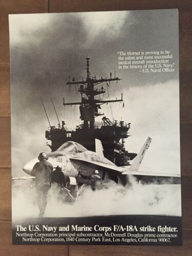 Glossy Black & White F/A-18A Hornet Aircraft Poster- circa 1990sReproductions - 156452