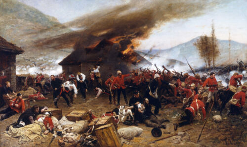 """Defense of Rourke's Drift British Painting 11"""" x 18.5"""" Real Canvas Art Print"""