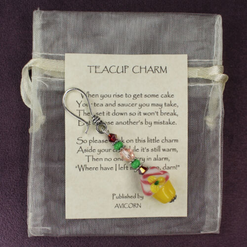TEA PARTY Cupcake Teacup Charm Dangler Favor Cakes Time Yellow Pink Green Silver