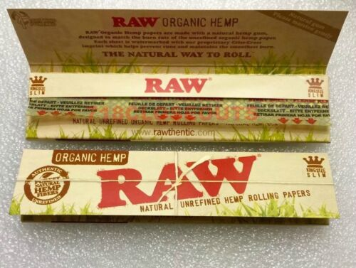 2 Packs Raw Classic King Size Slim Natural Organic x64 Rolling Papers